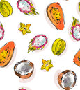 Hand drawn vector abstract freehand textured unusual seamless pattern with exotic tropical fruits papaya,dragon fruit