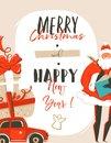 Hand drawn vector abstract fun Merry Christmas time cartoon illustration greeting card tag with Santa Claus,car,surprise