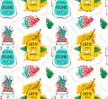 Hand drawn vector abstract funny summer time lemonade detox water seamless pattern with watermelon,brunches,pineapple