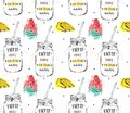 Hand drawn vector abstract funny summer time lemonade detox water seamless pattern with watermelon, glass jar with