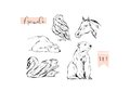 Hand drawn vector abstract graphic animals set collection of swan,polar bear,horse and owl ink brush painted isolated on