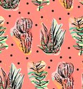 Hand drawn vector abstract graphic creative succulent,cactus and plants seamless pattern on polka dots background.Unique