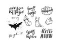 Hand drawn vector abstract handwritten modern calligraphy Halloween quotes,signs,logo,icons,illustrations,elements