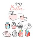 Hand drawn vector abstract Happy Easter scandinavian greeting card template design with bunnies and Easter eggs isolated