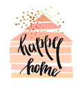 Hand drawn vector abstract illustration with geometric house in pastel colors Royalty Free Stock Photo