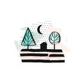 Hand drawn vector abstract scandinavian graphic illustration with house,trees and moon night in pastel colors.Desoration Royalty Free Stock Photo