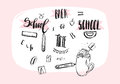 Hand drawn vector abstract school theme doodle icons,handwritten calligraphy quotes,signs and illustrations collection Royalty Free Stock Photo