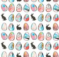 Hand drawn vector abstract sketch graphic scandinavian freehand textured modern collage Happy Easter cute simple bunny