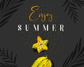 Hand drawn vector abstract summer time creative header with tropical fruit carambola,exotic palm leaves and modern