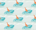 Hand drawn vector abstract summer time fun seamless pattern illustration with surfing dog on surfboard on blue ocean