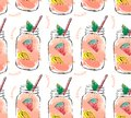 Hand drawn vector abstract summer time organic fresh fruits seamlees pattern with cocktail in glass bottle jar
