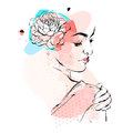 Hand drawn vector abstract textured collage illustration with female bridal figure with flowers in head in pastel colors