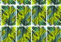 Hand drawn vector abstract tropical seamless pattern with exotic jungle palm leaves and freehand textures in green
