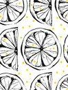 Hand drawn vector abstract unusual summer time seamless pattern with lemon slice and freehand texture isolated on white