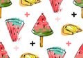 Hand drawn vector abstract unusual summer time seamless pattern with watermelon slice,icecream,lemon and crosses