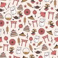 Hand drawn vector asian seamless pattern with umbrellas, japanese lucky cats, coins, lanterns, bonsai and torii gates on Royalty Free Stock Photo