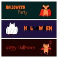 Halloween funny cats banners Royalty Free Stock Photo
