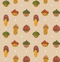 Hand drawn vector cartoon autumn seamless pattern with forest folk acorn  on craft background Royalty Free Stock Photo
