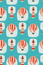 Hand drawn vector cartoon seamless pattern with lighthouse,hot air balloon and sea waves isolated on blue background Royalty Free Stock Photo