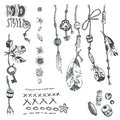 Hand drawn vector collection of boho elements: rope, beads, feat