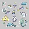 Hand drawn vector cute set of stickers.