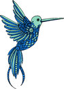 Hand drawn vector decorative hummingbird illustration. Colorful colibri drawing  with doodle line ornaments Royalty Free Stock Photo