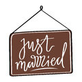 Hand-drawn vector design element for wedding poligraphy. Just married lettering