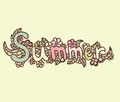 Hand drawn vector doodle label summer with flowers Stock Images