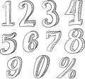 Hand Drawn Vector Doodle Set with Numbers