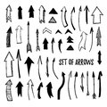 Hand drawn vector illustration - arrow collection. Sketch. Isola