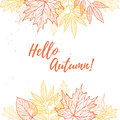Hand drawn vector illustration. Background with Fall leaves. For Royalty Free Stock Photo
