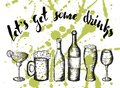 Hand drawn vector illustration, beer,coctail and wine on green stains Royalty Free Stock Photo