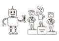 Hand drawn vector illustration, cartoon robot awards winners