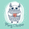 Hand drawn vector illustration with cute eagle owl merry christmas card Stock Images