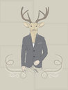 Hand drawn vector illustration of deer in a suit vintage with large pair antlers dressed an elegant Royalty Free Stock Image