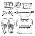 Hand drawn vector illustration - fashion accessories. Set of sty