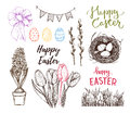 Hand drawn vector illustration. Happy Easter! Easter design elem