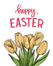Hand drawn vector illustration. Happy Easter! Spring tulips. Per