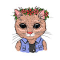 Hand-drawn vector illustration. Hipster cat with wreath