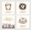 Hand drawn vector illustration - set of Happy Easter! Greeting c