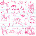 Hand drawn vector illustration set of princess sign, Castel, throne and carriage, magic wand, mirror, stuffed toy, croun and