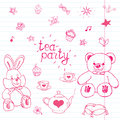Hand drawn vector illustration set of tea party with stuffed toys, tea pot, cups, pancakes, sweets birds and butterflies, cute ite