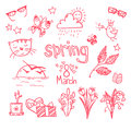 Hand drawn vector illustration spring icons doodle set Stock Photos