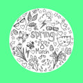 Hand drawn vector illustration spring icons doodle set Royalty Free Stock Images