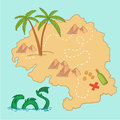 Hand drawn vector illustration treasure map and design element elements mountains palm dragon sea etc Stock Image