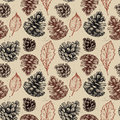Hand drawn vector illustrations seamless pattern with pine cones and leaves forest background Stock Photography