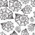Hand drawn vector illustrations - seamless pattern of seashell.