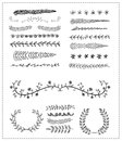 Hand-drawn vector line border set, design element Royalty Free Stock Photo