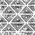 Hand drawn vector line triangle ornament grunge seamless pattern