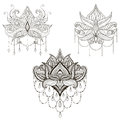 Hand drawn vector Lotus flower set, vector illustration, ornamen Royalty Free Stock Photo